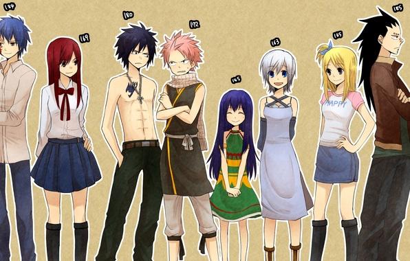 Картинка улыбка, девушки, крест, аниме, шарф, платье, тату, парни, сказка о хвосте феи, рост, Fairy Tail, …