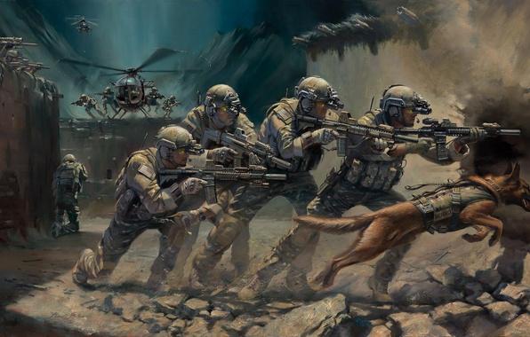 Картинка оружие, собака, арт, вертолет, солдаты, захват, экипировка, операция, спецназ, штурмовые винтовки