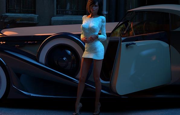 Картинка авто, девушка, рендеринг, улица, красота, вечер, платье, автомобиль, kelly