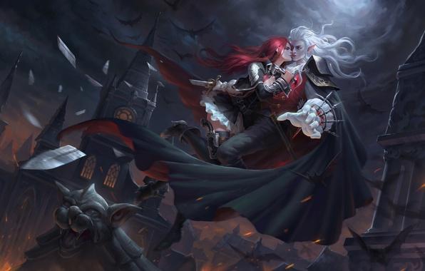 Картинка девушка, ночь, оружие, луна, арт, вампир, мужчина, летучие мыши, плащ