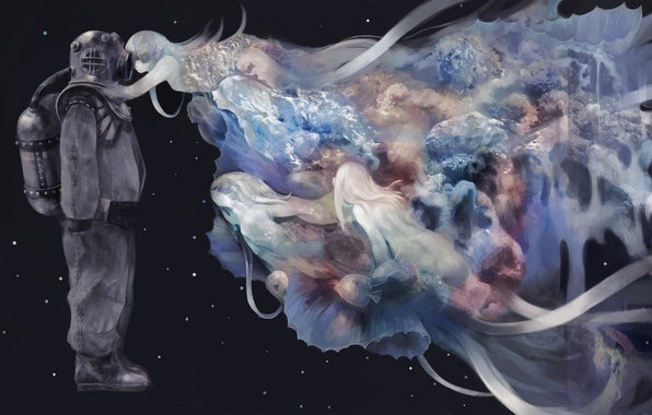 Картинка рыбки, ленты, девушки, космонавт, аниме, скафандр, арт, kerumu