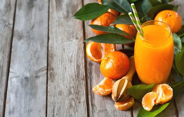 Картинка стакан, сок, фрукты, цитрусы, фреш, мандарины