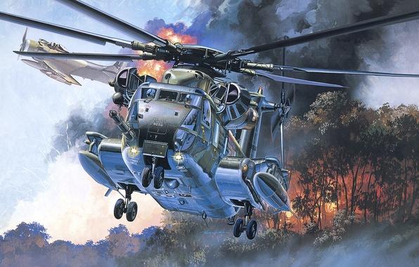 Картинка лес, деревья, пожар, рисунок, ВВС США, поисково-спасательный вертолёт, HH-53C S Jolly Green Giant