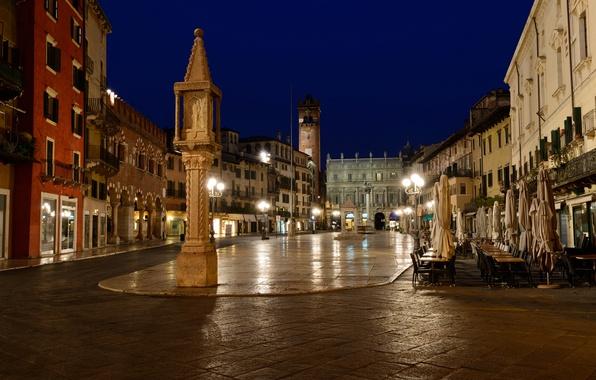 Картинка ночь, огни, дома, площадь, Италия, Верона