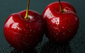 Обои вода, капли, макро, ягоды, черешни