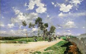 Картинка дорога, лес, небо, трава, облака, деревья, пейзаж, люди, лошадь, картина, горизонт, повозка, Giovanni Boldini