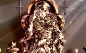 Картинка кресты, череп, шляпа, шарф, шахматы, перчатки, парень, art, bouno satoshi