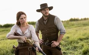 Обои Хейли Беннетт, Великолепная семерка, The Magnificent Seven, ружье, вестерн, Haley Bennett, ковбой, кобура, револьверы, Крис ...