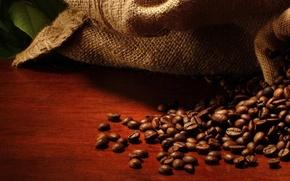 Обои мешок, кофейные зерна, листики, leaves, bag, coffee beans