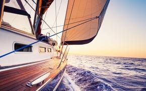 Картинка море, путь, яхта, парус