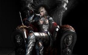Картинка девушка, задумчивость, меч, доспехи, арт, трон, королева