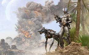 Картинка горы, взрыв, оружие, дым, костюм, Охотник, киберпес