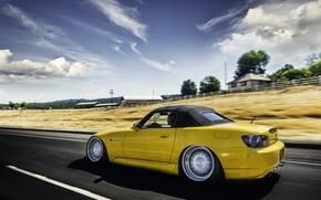 Обои honda, s2000, хонда, желтая, дорога