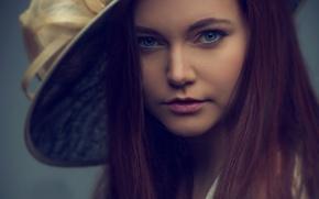 Картинка девушка, ретро, шляпка, портретное фото