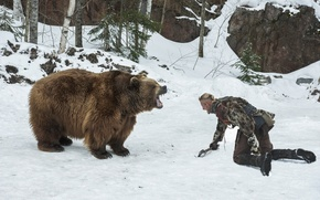 Обои медведь, Бьёрн, Alexander Ludwig, поединок, Викинги, Vikings