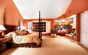 Картинка ночь, вилла, кровать, подушки, роскошь, Design, спальня, светильники, Interior, Bedroom