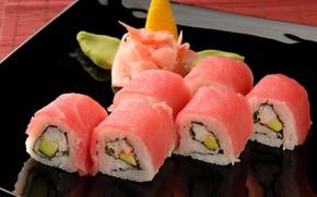 Картинка капуста, рис, черная, роллы, васаби, тарелка, суши