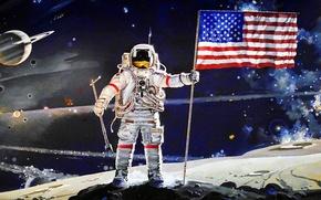 Картинка Луна, флаг, США, Америка, Apollo