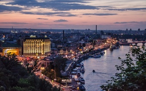 Картинка закат, огни, Украина, набережная, Киев, вечерний