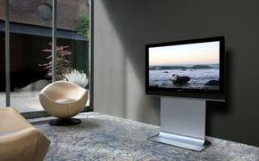 Картинка природа, камни, интерьер, кресло, квартира, комнтата, дои=машний кинотеатр