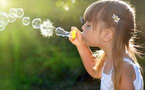 Картинка радость, счастье, дети, детство, ребенок, девочка, bubbles, child, childhood, children, little girl, happiness, joy, пузырей