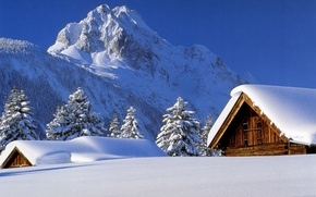 Обои зима, снег, Горы, крыши, домики