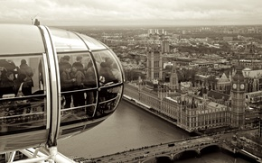 Картинка bridge, people, houses, London, black and white, London Eye, Big Ben, buildings, United Kingdom, clock, …