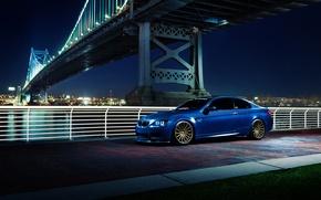 Картинка BMW, blue, E92, brige, Vossen Wheels