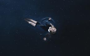 Картинка небо, вода, девушка, звезды, ночь