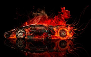 Обои tony kokhan, ferrari, f80, side, fire, car, concept, abstract, orange