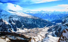 Картинка лес, горы, Зима, горнолыжный курорт