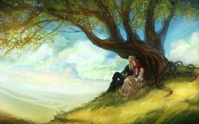 Картинка небо, листья, девушка, облака, дерево, арт, парень, рыжие волосы, длинные волосы, влюбленная пара, anndr
