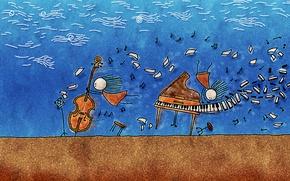 Обои музыка, человечки, Ветер, инструменты