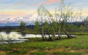 Картинка природа, картина, Горы и березы у водоёма, Юхан Тирен