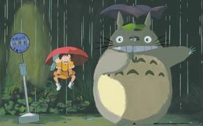 Обои Тоторо, Хаяо Миядзаки, зонт, дождь