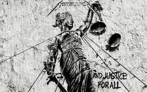 Обои and justice for all, лого, metallica, музыка, весы, рок