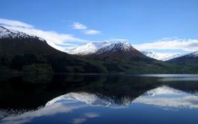 Обои снег, озеро, отражение, Горы
