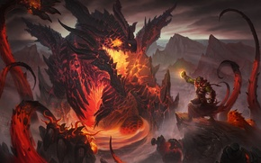 Картинка дракон, лава, чародей, заклинатель, орк колдун