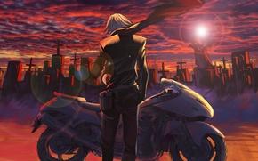 Картинка небо, солнце, облака, закат, кресты, аниме, шарф, арт, мотоцикл, кладбище, парень, kikira