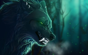 Картинка взгляд, ветки, фон, животное, волк, арт, пасть, клыки