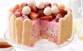 Картинка ягоды, еда, клубника, торт, пирожное, десерт, сладкое, sweet, dessert, бискотти