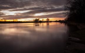 Картинка облака, закат, озеро, пруд, вечер