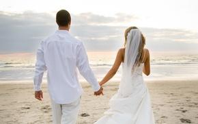 Обои невеста, свадьба, любовь, пляж, молодожены, love, океан, фата