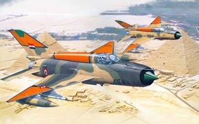 Картинка авиация, самолет, истребитель, Египет, пирамиды, Mig, ВВС, МиГ-21