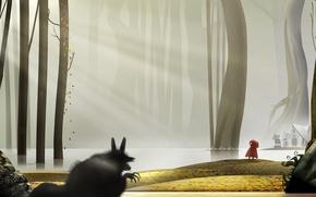 Обои волк, сказка, красная шапочка, by marchine, Little Red Riding Hood one