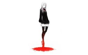 Картинка пустота, девушка, одиночество, черное платье, лужа крови, by Sawasawa