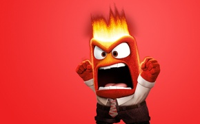 Картинка fire, flame, eyes, chibi, tongue, adventure, tie, mouth, spark, Anger, 2015, social clothing, Pixar Animation …
