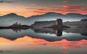 Картинка закат, озеро, замок