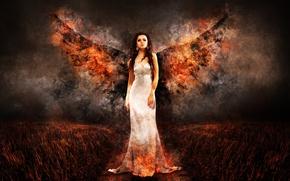 Картинка поле, девушка, ночь, огонь, крылья, ангел, платье, стоит, в белом, Angel of Fire