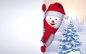 Картинка снеговик, happy, winter, snow, cute, snowman